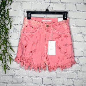 Zara Trafaluc pink destroyed mom shorts size 2